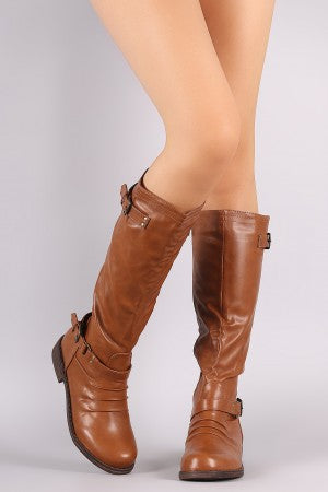 Ruched Round Toe Buckle Strap Riding Knee High Boots