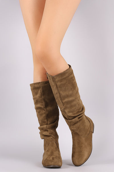 Slouchy Round Toe Knee High Riding Boots