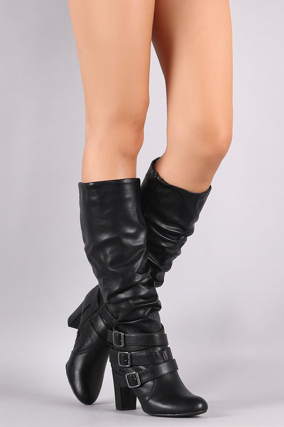 Strappy Buckles Slouchy Almond Toe Chunky Heel Knee High Boot