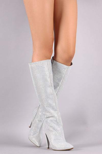 Anne Michelle Rhinestone Accent Pointy Toe Knee High Boots