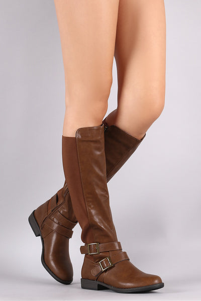 Bamboo Elastic Back Panel Buckled Riding Knee High Boots