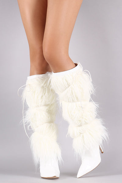Faux Fur Shaft Lace Up Pointy Toe Stiletto Boots