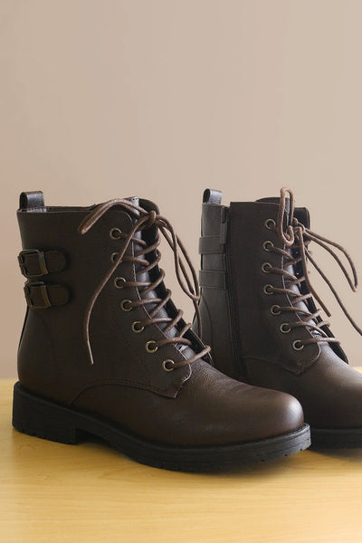 Double Buckle Combat Lace-Up Ankle Boots