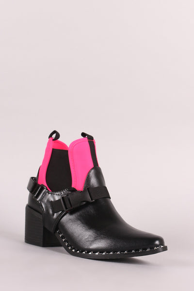 Buckled And Studded Chelsea Chunky Mid-Heel Moto Ankle Boots