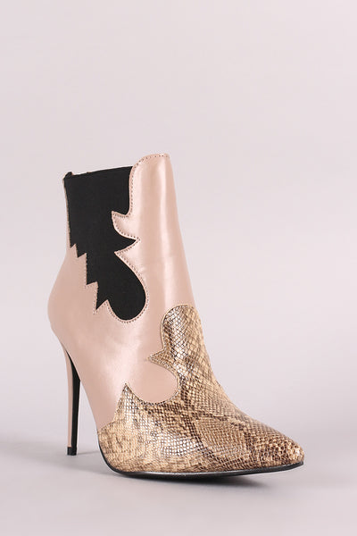 Snake Trim Pointy Toe Stiletto Chelsea Booties