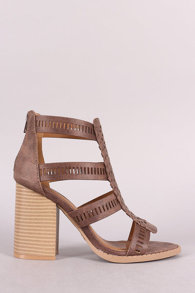 Qupid Strappy Perforated Whipstitch Chunky Heel