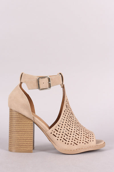 Qupid Perforated Peep Toe Ankle Strap Chunky Heel