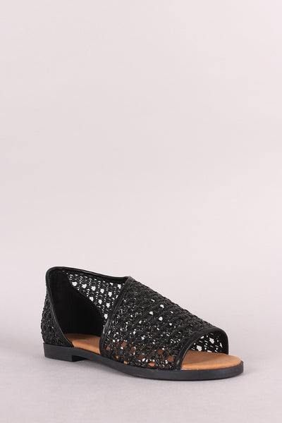 Bamboo Woven Open Toe Oxford Flat