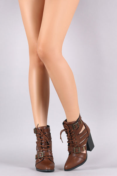 Bamboo Pointy Toe Caged Side Lace Up Stacked Chunky Heel Booties