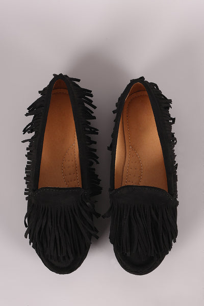 Liliana Fringe Accent Slip-On Moccasin Flat