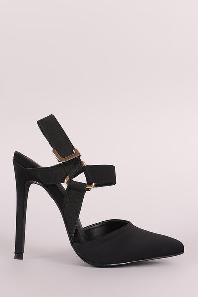 Liliana Elastic Ankle Straps Pointy Toe Stiletto Heel