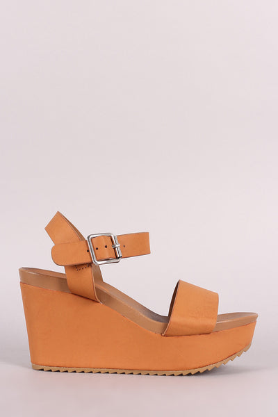 Bamboo One Band Ankle Strap Lug Sole Platform Wedge