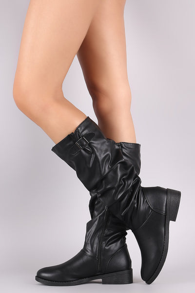 Qupid Buckle Accent Slouchy Riding Knee High Boots