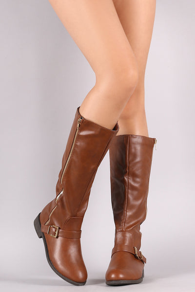 Wild Diva Lounge Buckled Zipper Accent Riding Boots