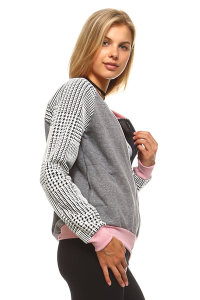 Women's Checkered Zip Up Bomber