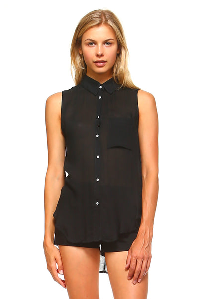 Women's Sleeveless Sheer Button Down Blouse