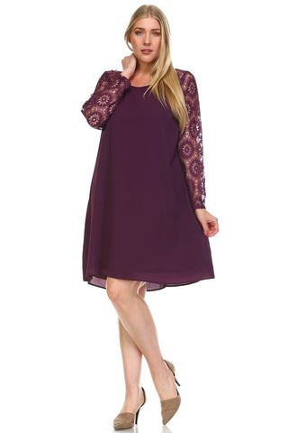 Women's Plus Size Lace Sleeve Shift Dress