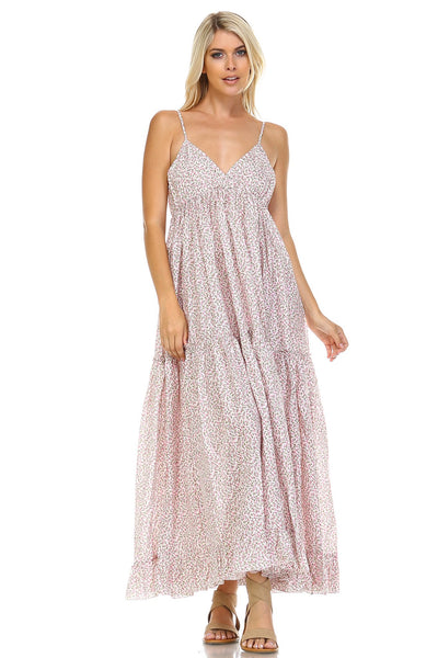 Women's Floral Printed Tiered Maxi Dress