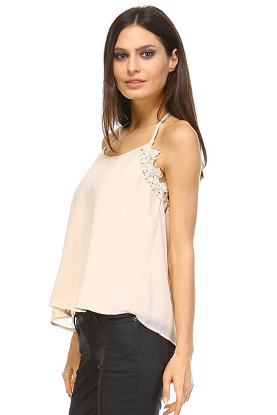 Women's Embroider Detail Halter Tank