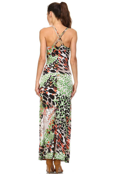 Women's Double Strap Cross-Back Maxi Tank Dress
