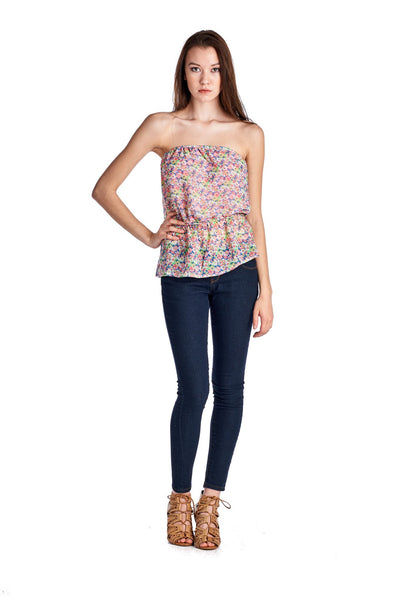 Women's Floral Printed Strapless Top
