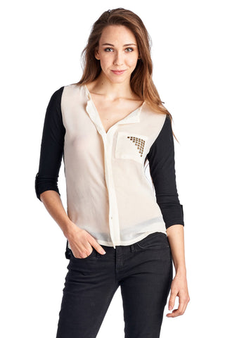 Women's Knit to Woven Colorblock Top with Pocket Heat Transfer