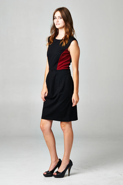Women's Sleeveless Ponte Colorblock Dress