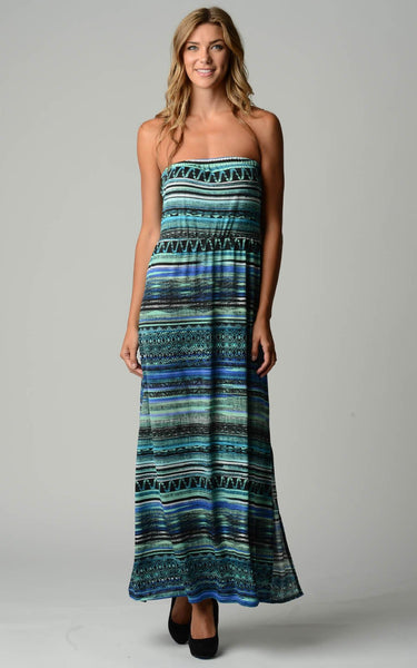Women's Stripe Pattern Strapless Maxi Dress