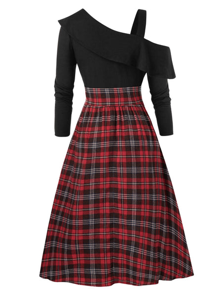 Plus Size Skew Neck Ruffled High Low Plaid Dress