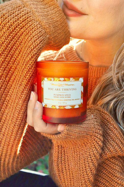 Pumpkin Spice Fall 8 oz Candle - You Are Thriving - The Self-Care Seed Co.