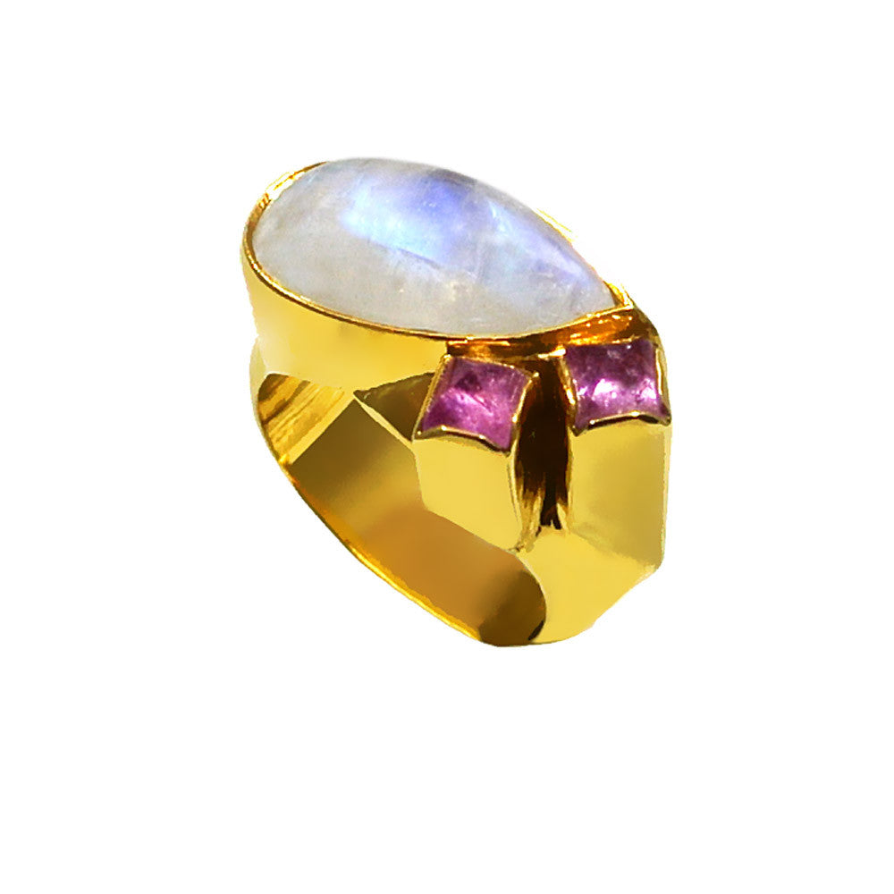 Ring in 18k Gold with Moonstone and Pink Tourmalines (B-38) - Ring - ELEFTHERIOU EL