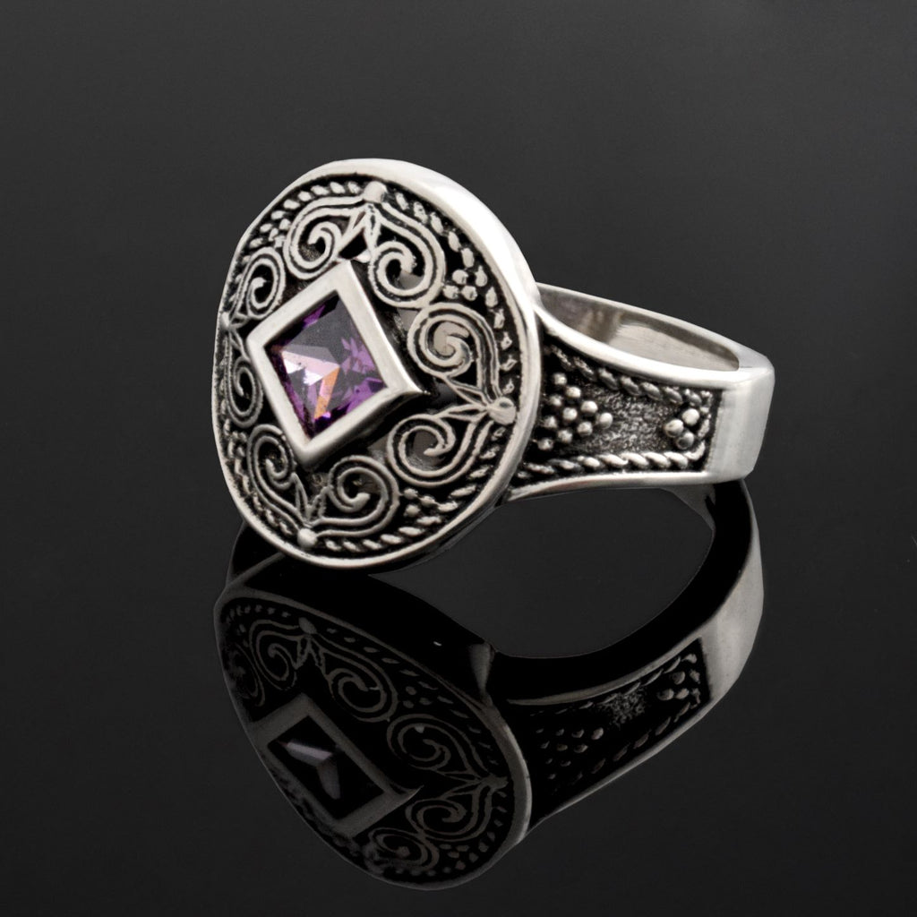 Byzantine Ring handcrafted in Sterling Silver with zircon (DT-01)-ELEFTHERIOU EL