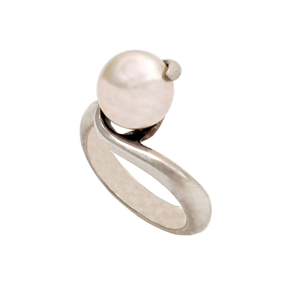 Ring in Sterling Silver with pearl (DT-132)-ELEFTHERIOU EL