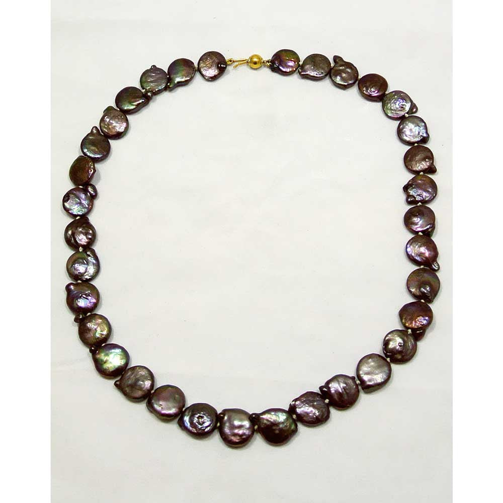 Necklace with black Tahitian pearls and 18k gold clasp (E-16) - Necklaces - ELEFTHERIOU EL