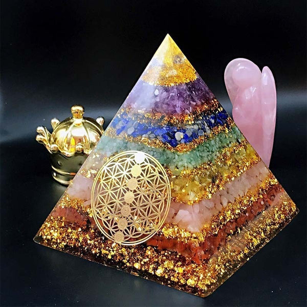 Seven Chakra Energy Pyramid Aura Divination Supplies Yoga Meditation Ornaments Resin Craft EMF Protection Lucky Stone