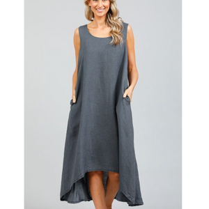 HOLIDAY LAUNCH DRESS - CHARCOAL LINEN