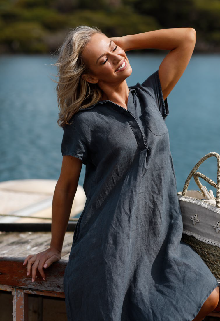 HOLIDAY AHOY TUNIC - CHARCOAL LINEN