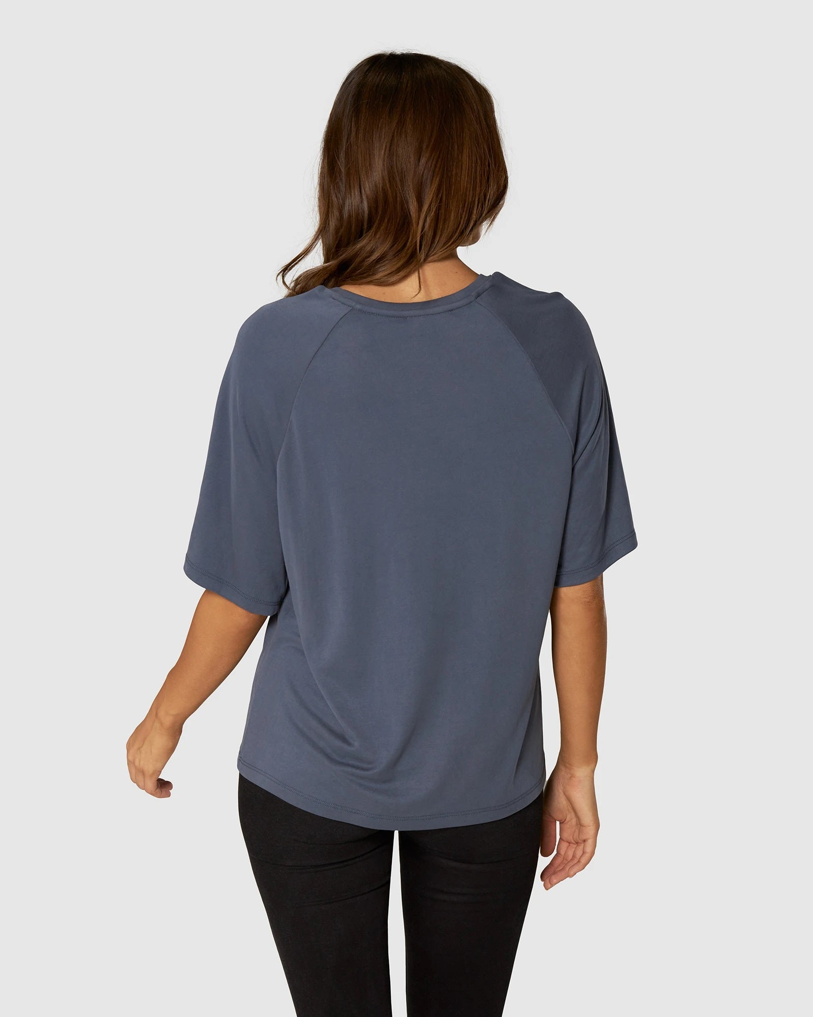 APERO BROOKLYN BEADED OVERSIZED TEE - WASHED BLUE/ SILVER
