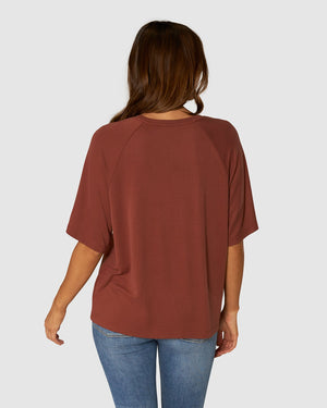 APERO COLADA BEADED OVERSIZED TEE - BURNT ROSE/GOLD BEAD