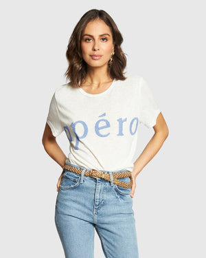 APERO FORTE BEADED FEMME TEE - WHITE/BLUE BEAD