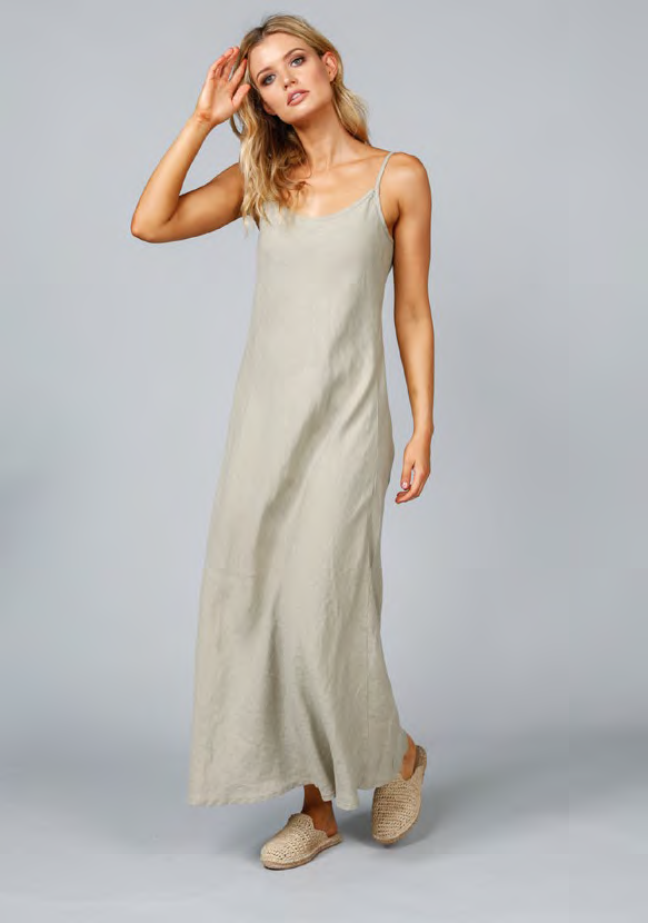shanty corp claro maxi dress - tea linen
