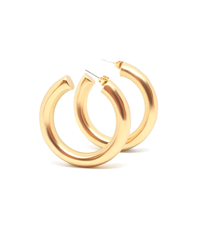 BLING BAR CICCIOLINA HOOPS MATTE 14KT GOLD