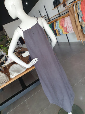 HOLIDAY CLIFFSIDE MAXI DRESS - CHARCOAL LINEN