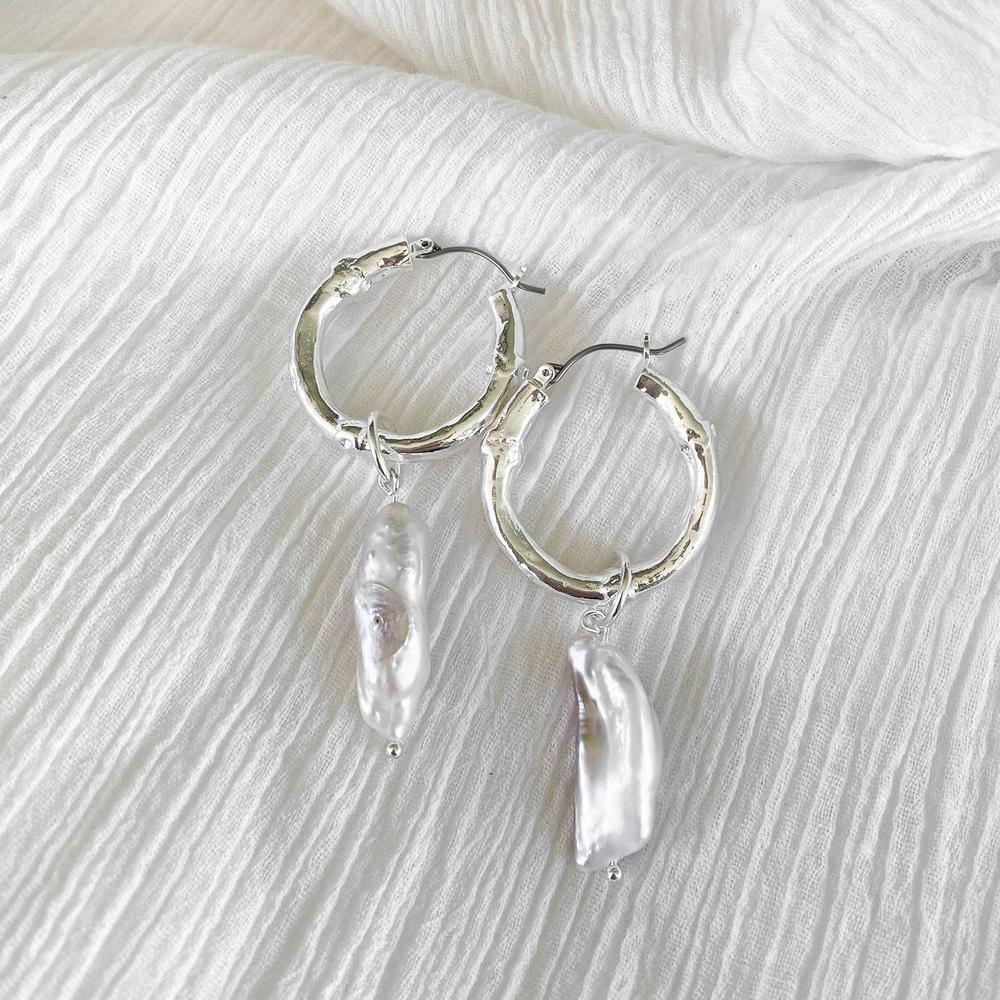 MINC COLLECTIONS INDIA PEARL HOOPS - SILVER