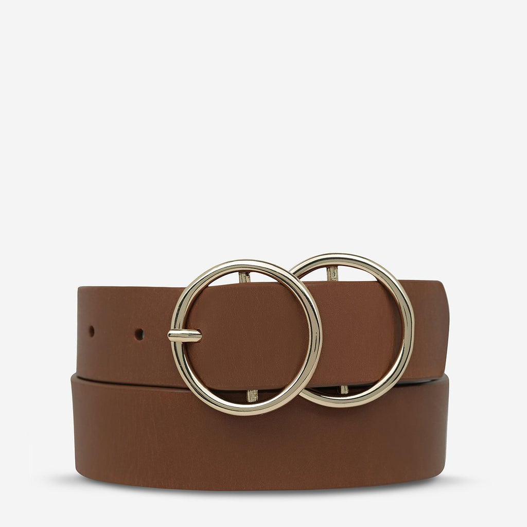 STATUS ANXIETY MISLAID BELT - TAN/GOLD