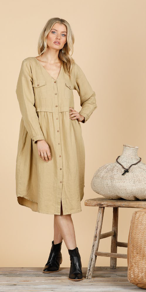 SHANTY CORP RONSON DRESS - OCHRE