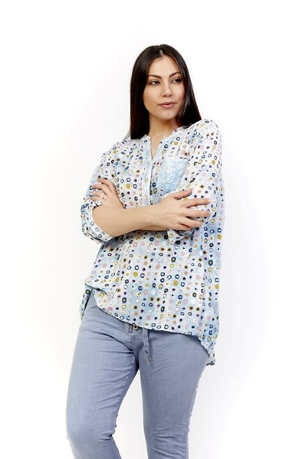 AMICI SPOTTY SEQUIN TOP - BLUE JEANS