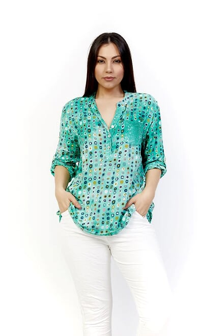 AMICI SPOTTY SEQUIN TOP - GREEN