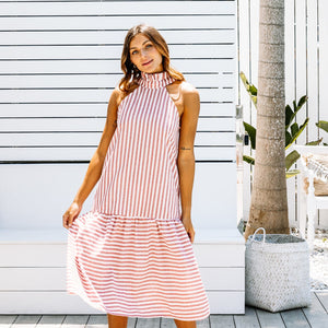 LJC TORI DRESS - RED STRIPE