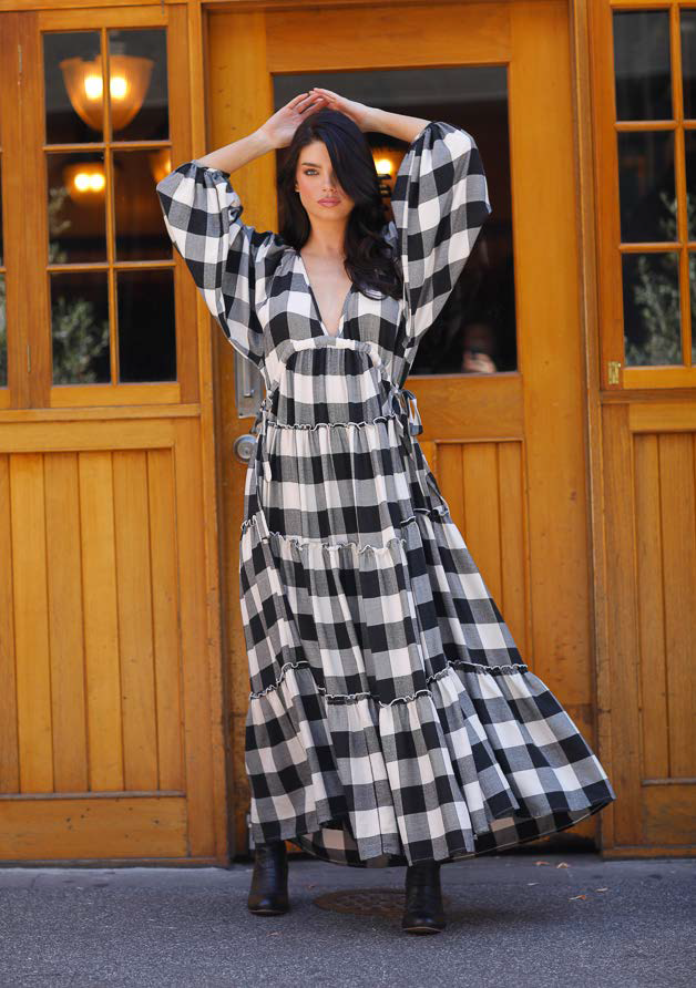 THE SHANTY CORP WING AND A PRAYER MAXI DRESS  - BLACK WHITE CHECK